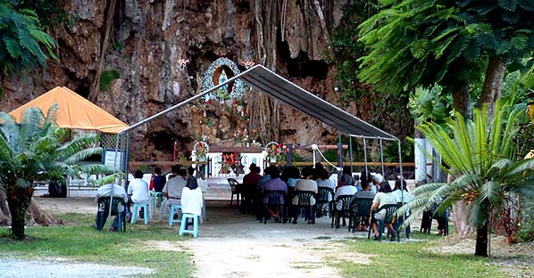 The novena is held for nine nights. Here at Lourdes ...